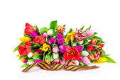 George ribbon and tulips — Stock Photo