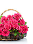 Fresh roses in the wicker — Stock Photo