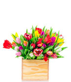 Tulips flowers in the box — Stock Photo