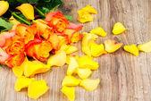 Róże pomarańczowe tło — Zdjęcie stockowe
