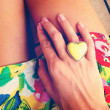 YELLOW HEART - ring — Stock Photo