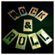 Rock and roll stencil. Graffiti, spray paint vintage retro letters. Graphics font. — Stock Photo #26896269