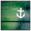 Wooden painted signs. Retro vintage hand painted arrow. Retro vintage hand painted anchor. — Stock Photo