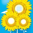 Stock Vector: Sunflowers on blue background