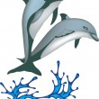 Two dolphins jumping from water - Stock Vector