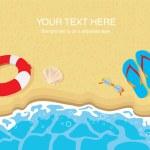 Flip flops , lifebelt , sunglasses and shells on sandy beach — Stock Vector #23493401