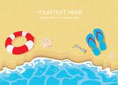 Flip flops , lifebelt , sunglasses and shells on sandy beach — Stock Vector