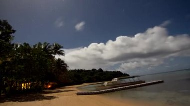 Night timelapse of a tropical island resort — Stock Video