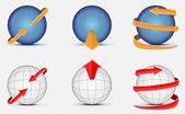 Sphere with arrow — Stock Vector