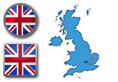 Vector map and flag of UK — Stock Vector