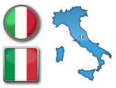 Vector map and flag of Italy — Stock Vector