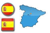 Vector map and flag of Spain — Stock Vector