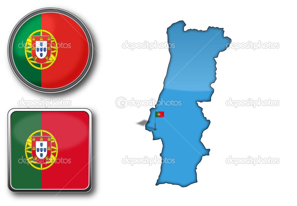 矢量地图和国旗的葡萄牙