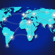 Travel lines across map of world — Stock Photo