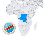 Democratic republic of Congo on Africa map — Stock Photo