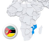 Mozambique on Africa map — Stock Photo
