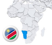 Namibia on Africa map — Stock Photo