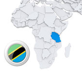 Tanzania on Africa map — Stock Photo