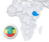 Ethiopia on Africa map — Stock Photo