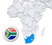South Africa on Africa map — Stock Photo