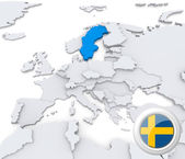 Sweden on map of Europe — Stock Photo