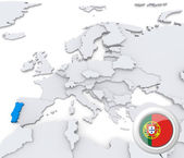 Protugal on map of Europe — Stock Photo