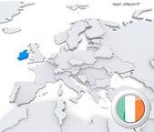 爱尔兰在欧洲的地图上 — 图库照片