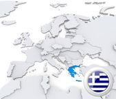 希腊在欧洲的地图上 — 图库照片