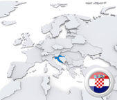 Croatia on map of Europe — Stockfoto