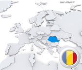 Romania on map of Europe — Stock Photo