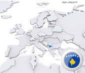 Kosovo on map of Europe — Stock Photo