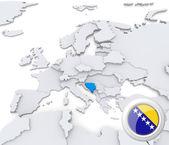 Bosnia and Herzegovina on map of Europe — Stock Photo