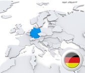 Germany on map of Europe — Stock Photo