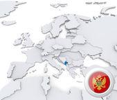 Monte negro on map of Europe — Stock Photo