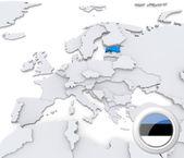 Estonia on map of Europe — Stock Photo