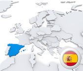 Spain on map of Europe — Stock Photo