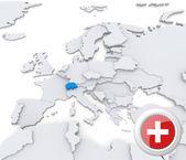 瑞士在欧洲的地图上 — 图库照片