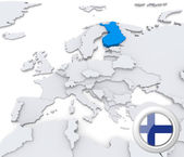 Finland on map of Europe — Stock Photo