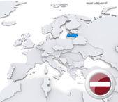 Latvia on map of Europe — Stock Photo