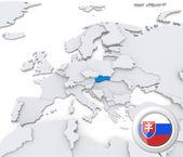 Slovakia on map of Europe — Stock Photo