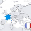 France on map of Europe — Stock Photo #29068299