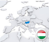 Hungary on map of Europe — Stock Photo