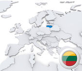 Lithuania on map of Europe — Stock Photo