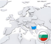 Bulgaria on map of Europe — Stock Photo