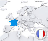 France on map of Europe — Stock Photo