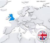 United Kingdom on map of Europe — Stock Photo