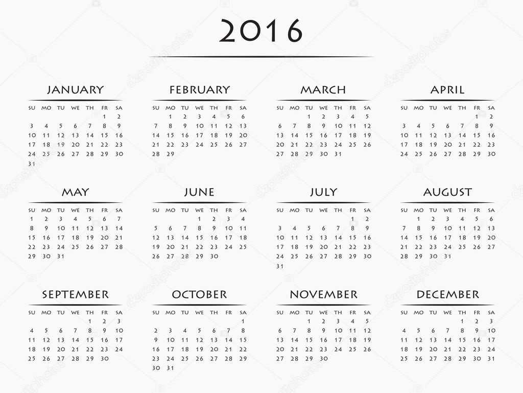 Google 2016 Yearly Calendar | Calendar Template 2016
