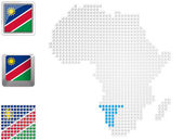Namibia on map of Africa — Stock Photo