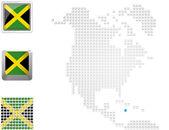 Jamaica on map of North america — Stock Photo