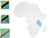 Tanzania on map of Africa — Stock Photo